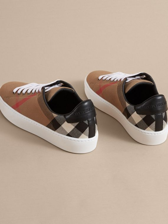 House Check and Leather Trainers in Classic - Women | Burberry - cell image 3