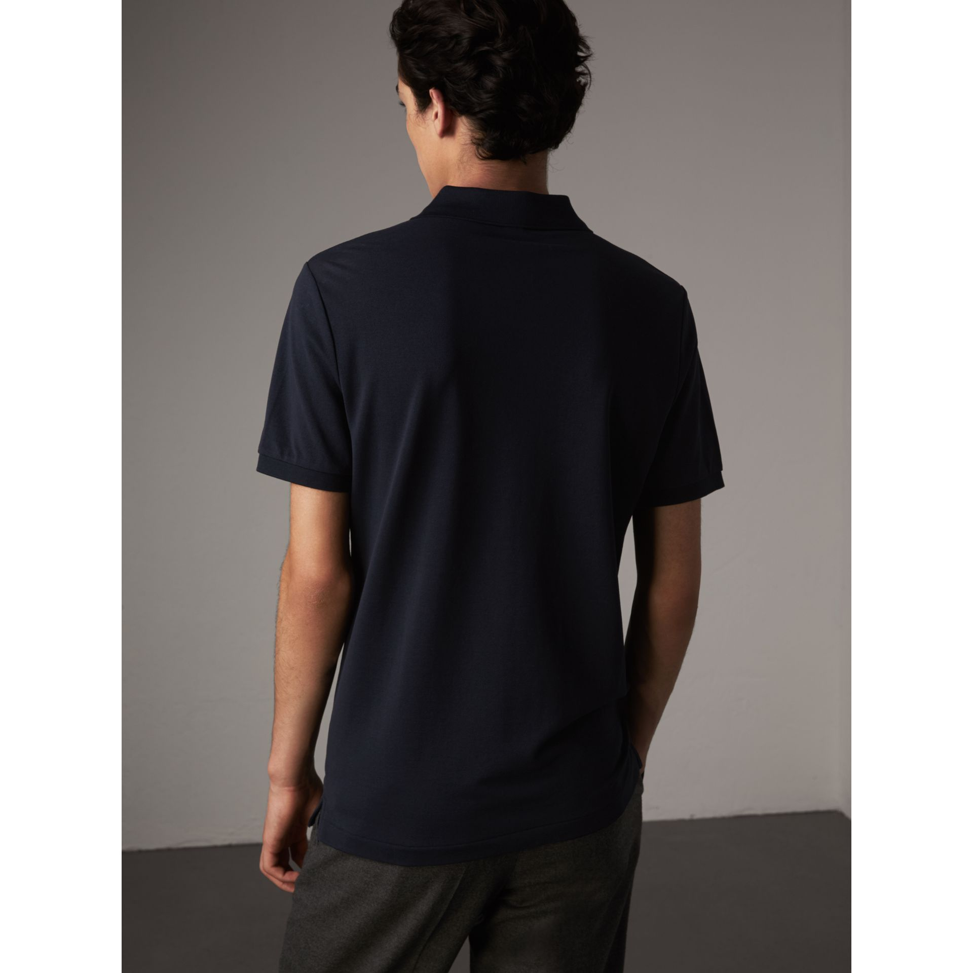 Cotton Piqué Polo Shirt in Navy - Men | Burberry Canada - gallery image 3