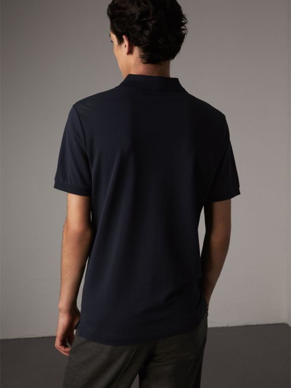Cotton Piqué Polo Shirt in Navy - Men | Burberry Canada - cell image 2