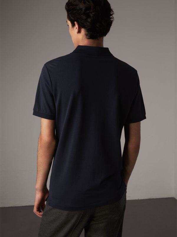 Cotton Piqué Polo Shirt in Navy - Men | Burberry United States - cell image 2