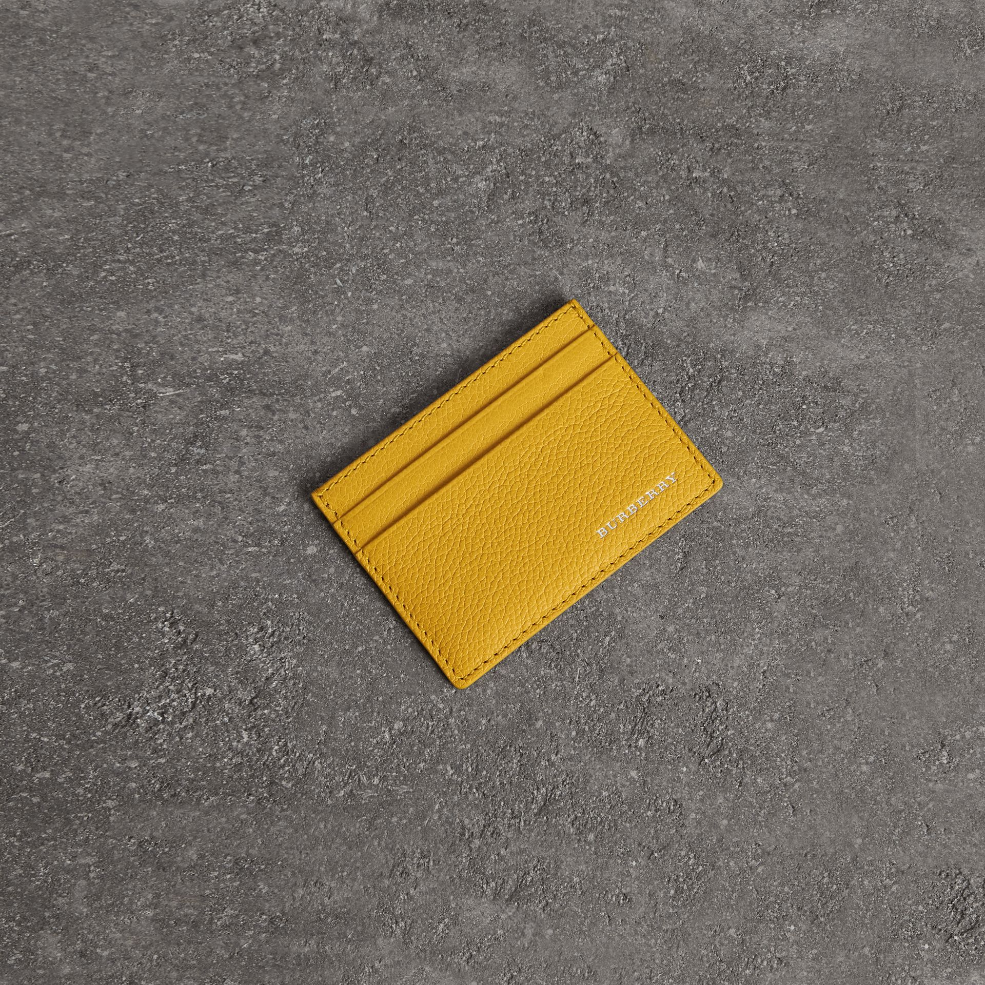 Grainy Leather Card Case in Bright Ochre Yellow | Burberry - gallery image 0