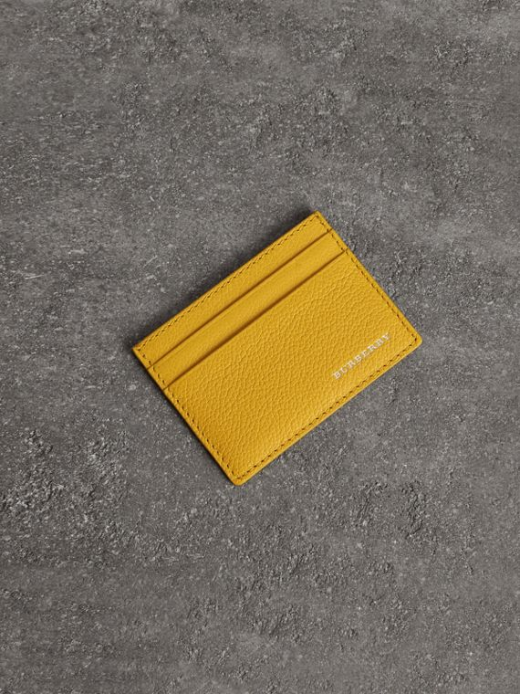 Grainy Leather Card Case in Bright Ochre Yellow