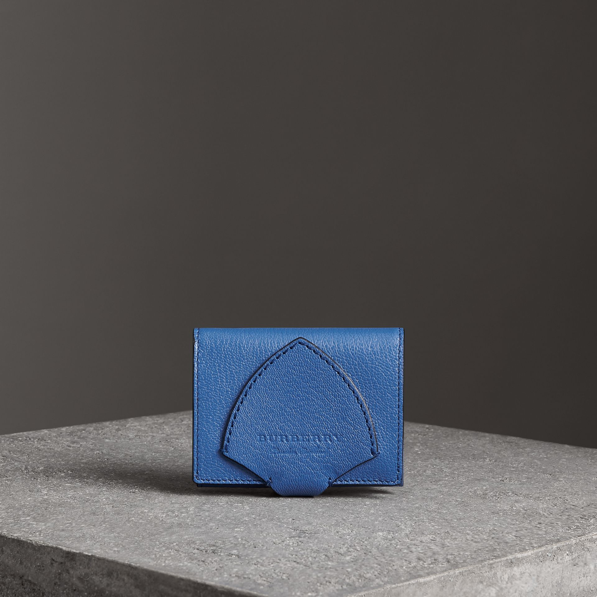 Equestrian Shield Two-tone Leather Folding Wallet in Hydrangea Blue - Women | Burberry Australia - gallery image 0