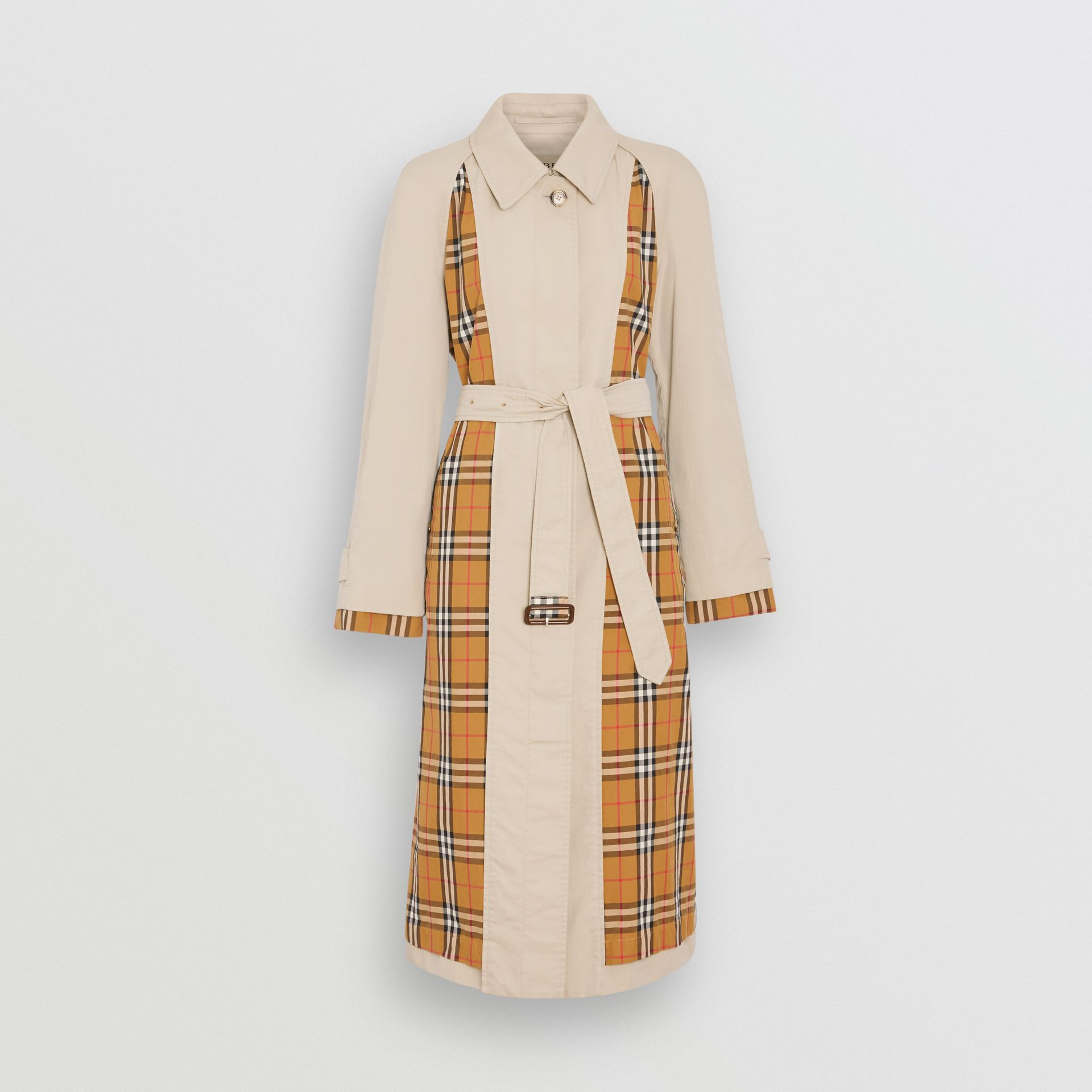 Vintage Check and Tropical Gabardine Car Coat in Stone - Women | Burberry United States - gallery image 3