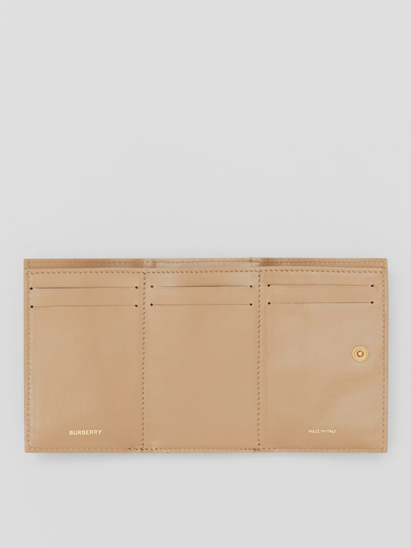 Small Grainy Leather Folding Wallet in Archive Beige - Women | Burberry Australia - cell image 2