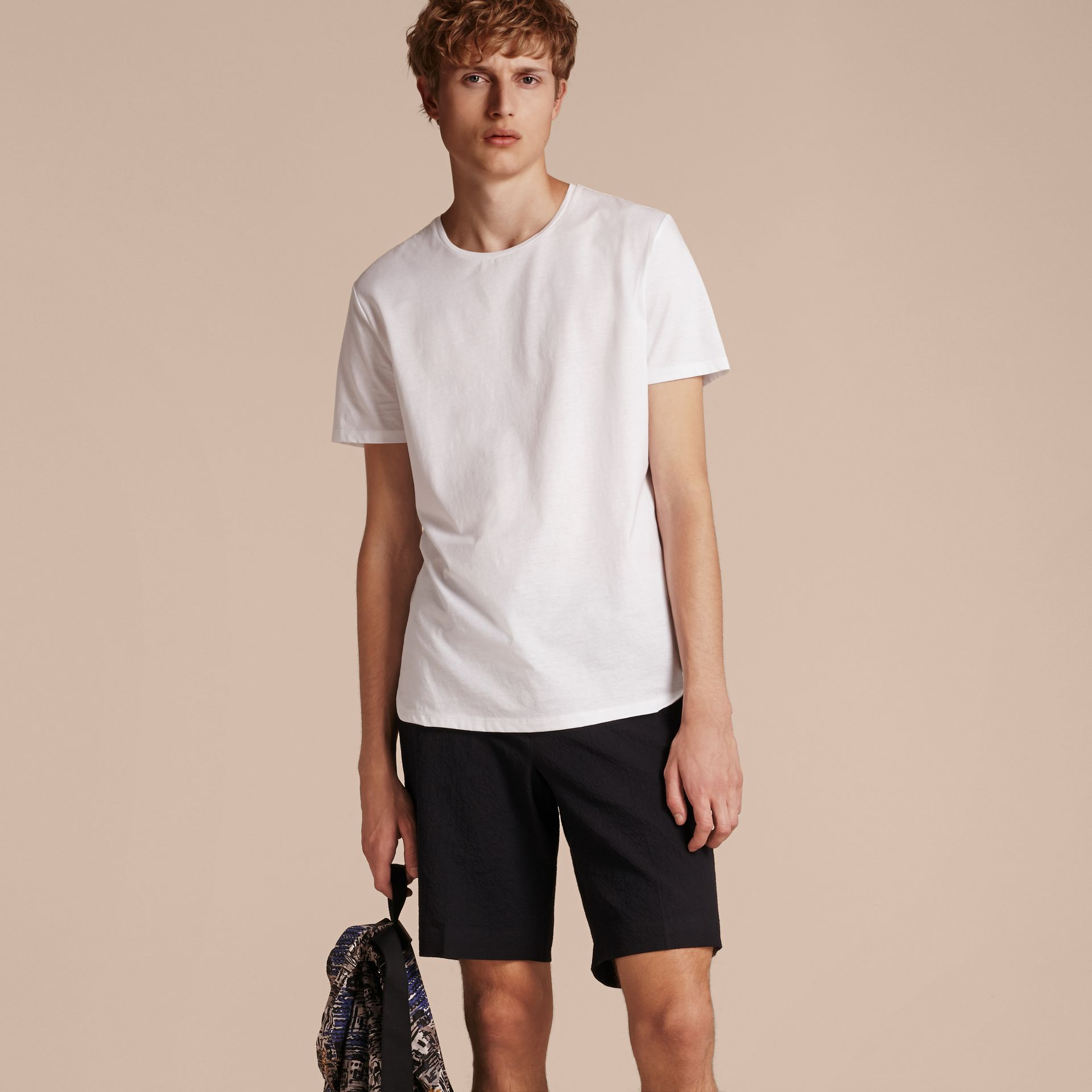 Crew Neck Cotton T-shirt in White - Men | Burberry - gallery image 6