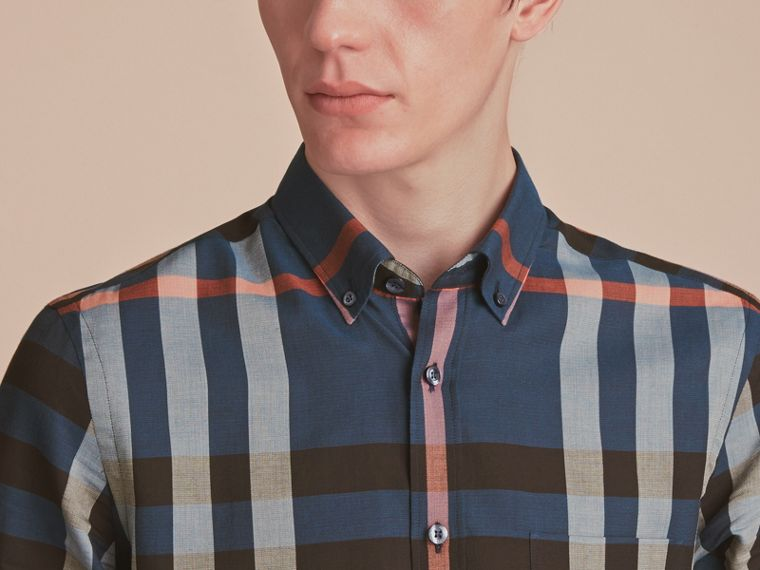 Button-down Collar Check Cotton Poplin Shirt in Ink Blue - Men | Burberry - cell image 4