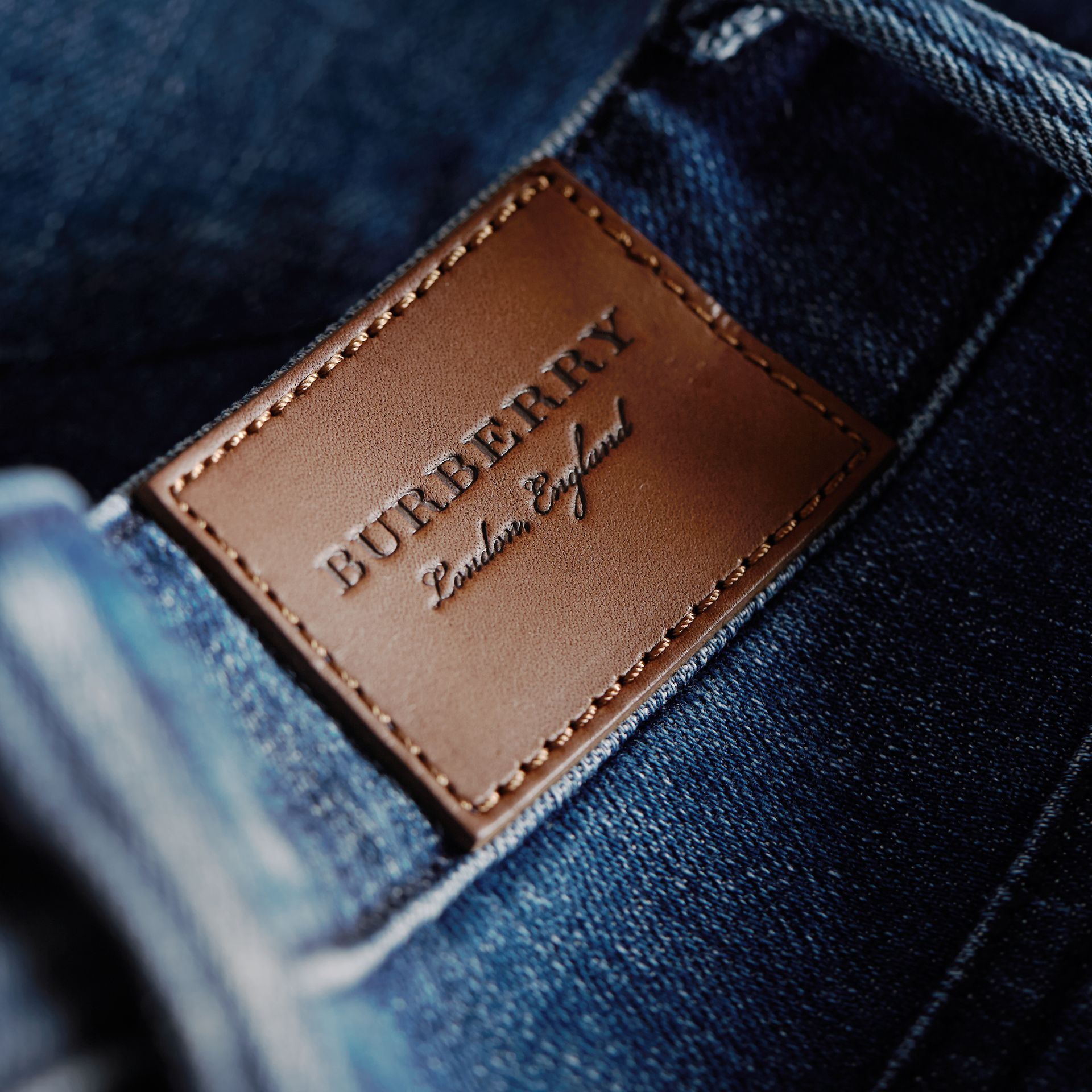 Skinny Fit Seam Detail Stretch Japanese Denim Jeans in Indigo - Women | Burberry - gallery image 1