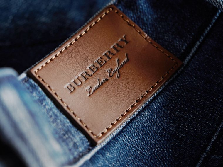 Skinny Fit Seam Detail Stretch Japanese Denim Jeans in Indigo - Women | Burberry - cell image 1