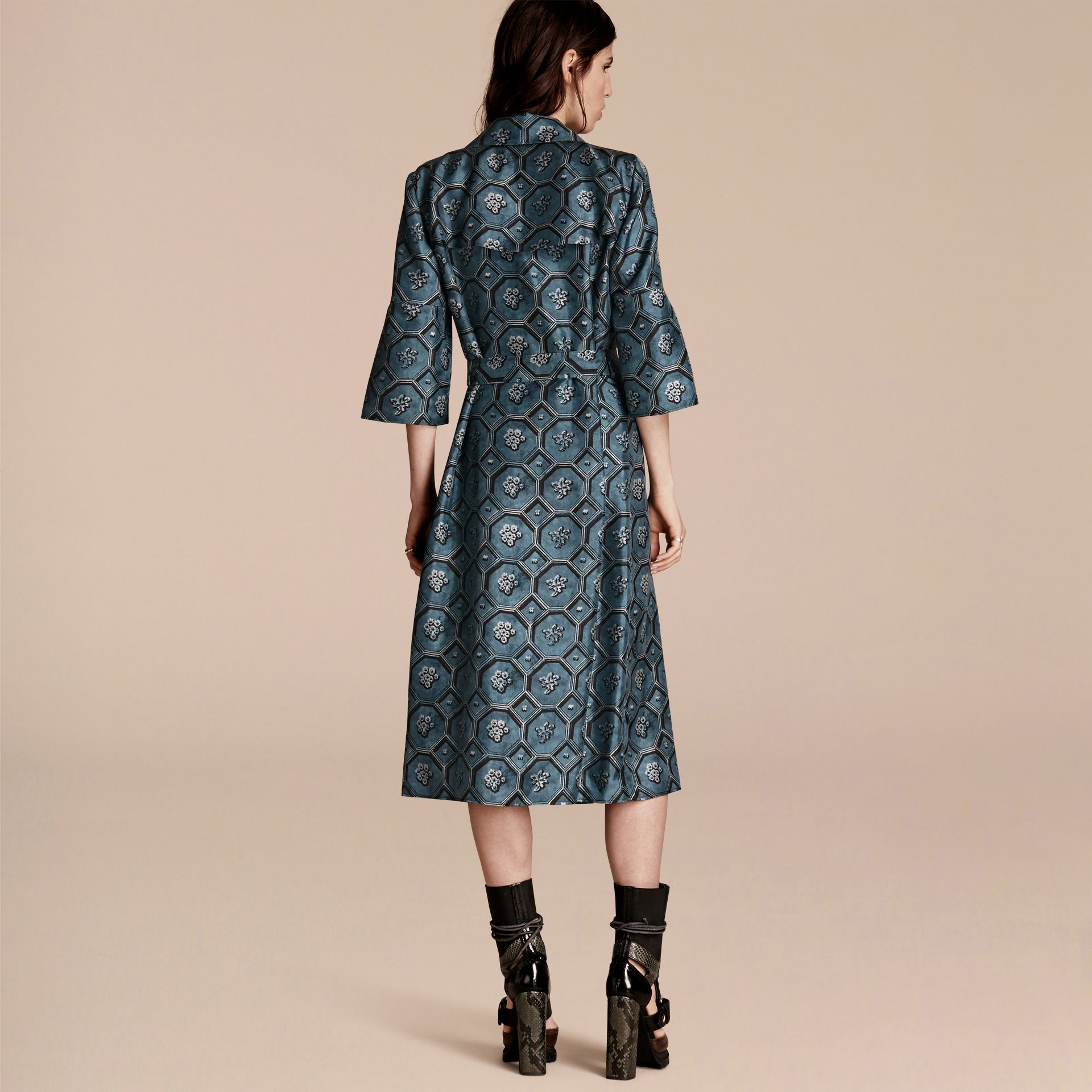 Dark mineral blue Wallpaper Print Silk Twill Wrap Trench Dress - gallery image 3