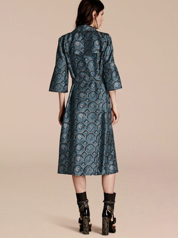 Dark mineral blue Wallpaper Print Silk Twill Wrap Trench Dress - cell image 2