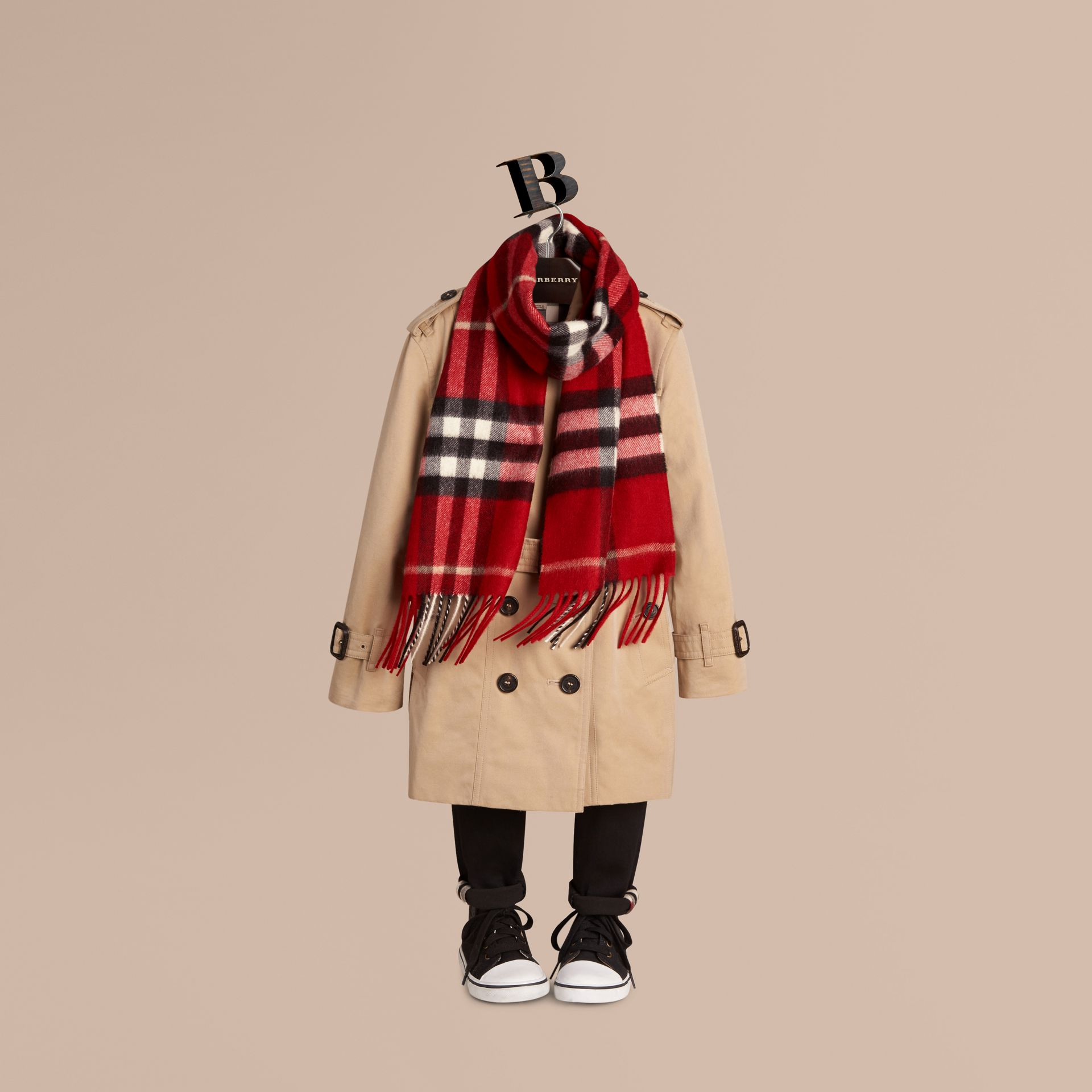 Parade red The Mini Classic Cashmere Scarf in Check Parade Red - gallery image 3