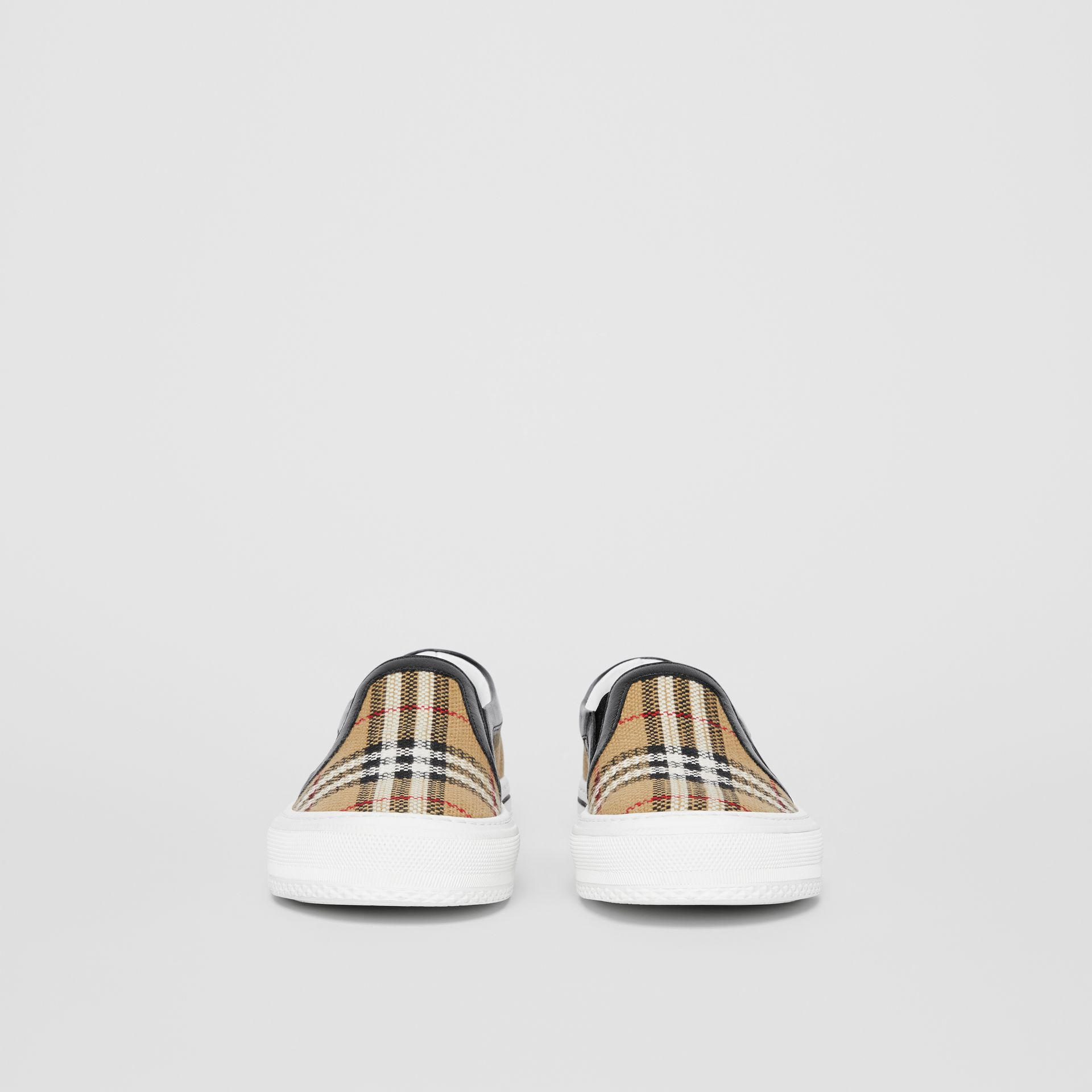 Vintage Check and Leather Slip-on Sneakers in Archive Beige - Women | Burberry - gallery image 3
