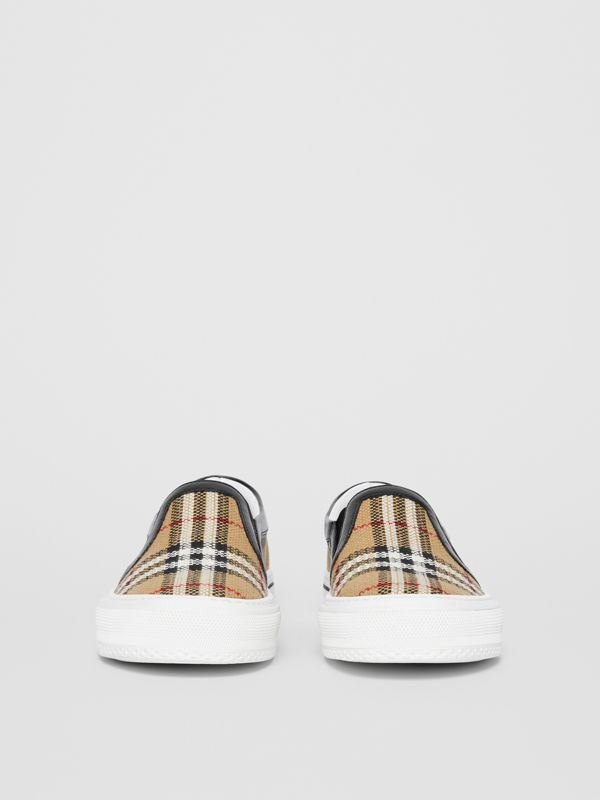 Vintage Check and Leather Slip-on Sneakers in Archive Beige - Women | Burberry - cell image 3