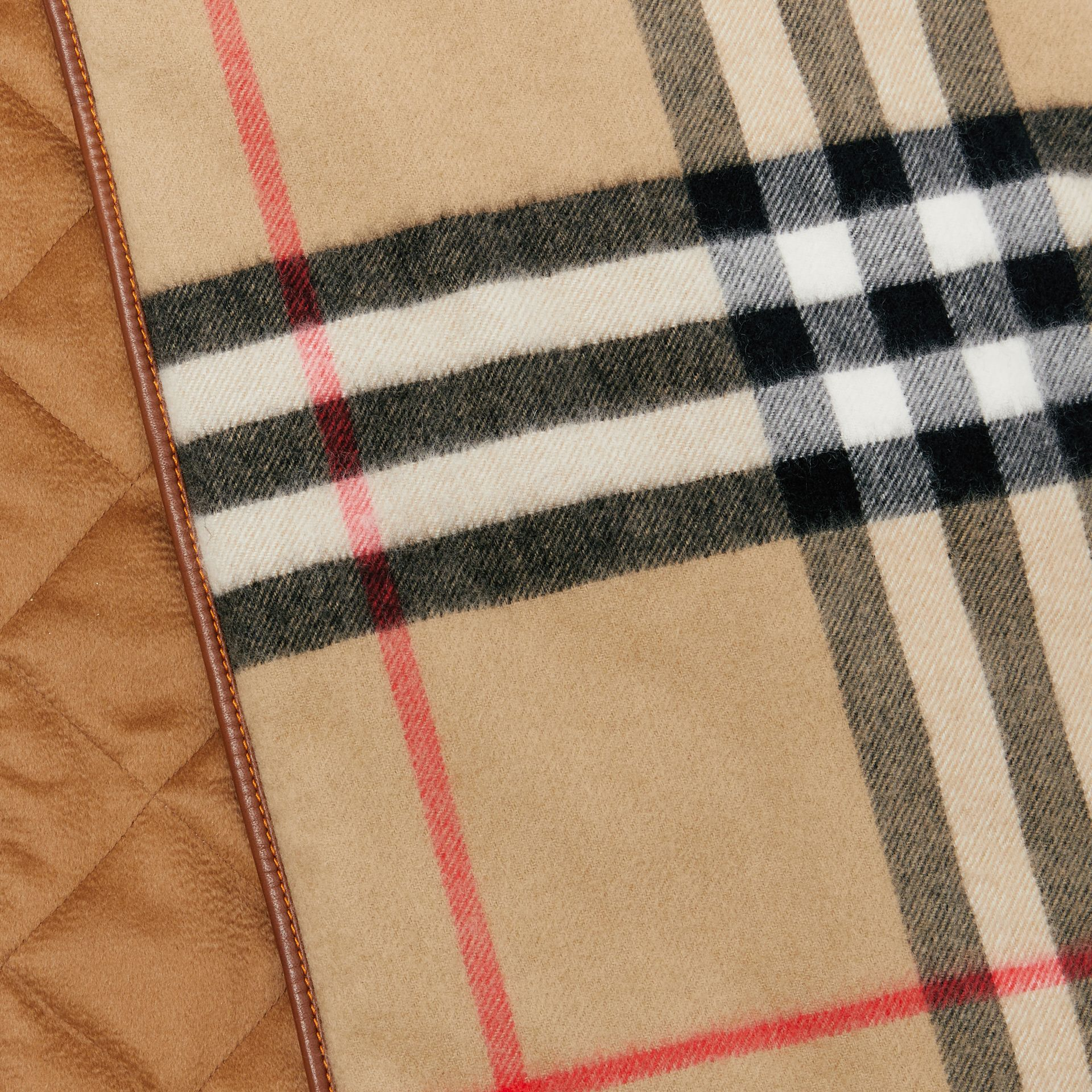 Lambskin Trim Vintage Check Cashmere Scarf in Dark Camel | Burberry - gallery image 1