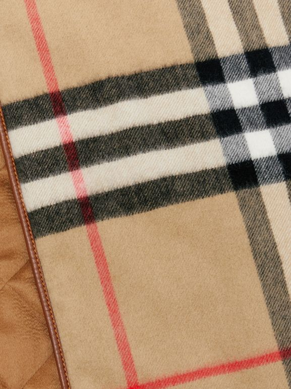 Lambskin Trim Vintage Check Cashmere Scarf in Dark Camel | Burberry - cell image 1