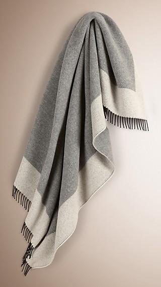 Contrast-Border Cashmere Baby Blanket