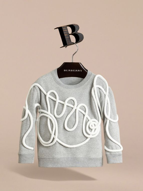 Rope Detail Brushed-back Jersey Sweatshirt in Grey Melange - Boy | Burberry Singapore - cell image 2
