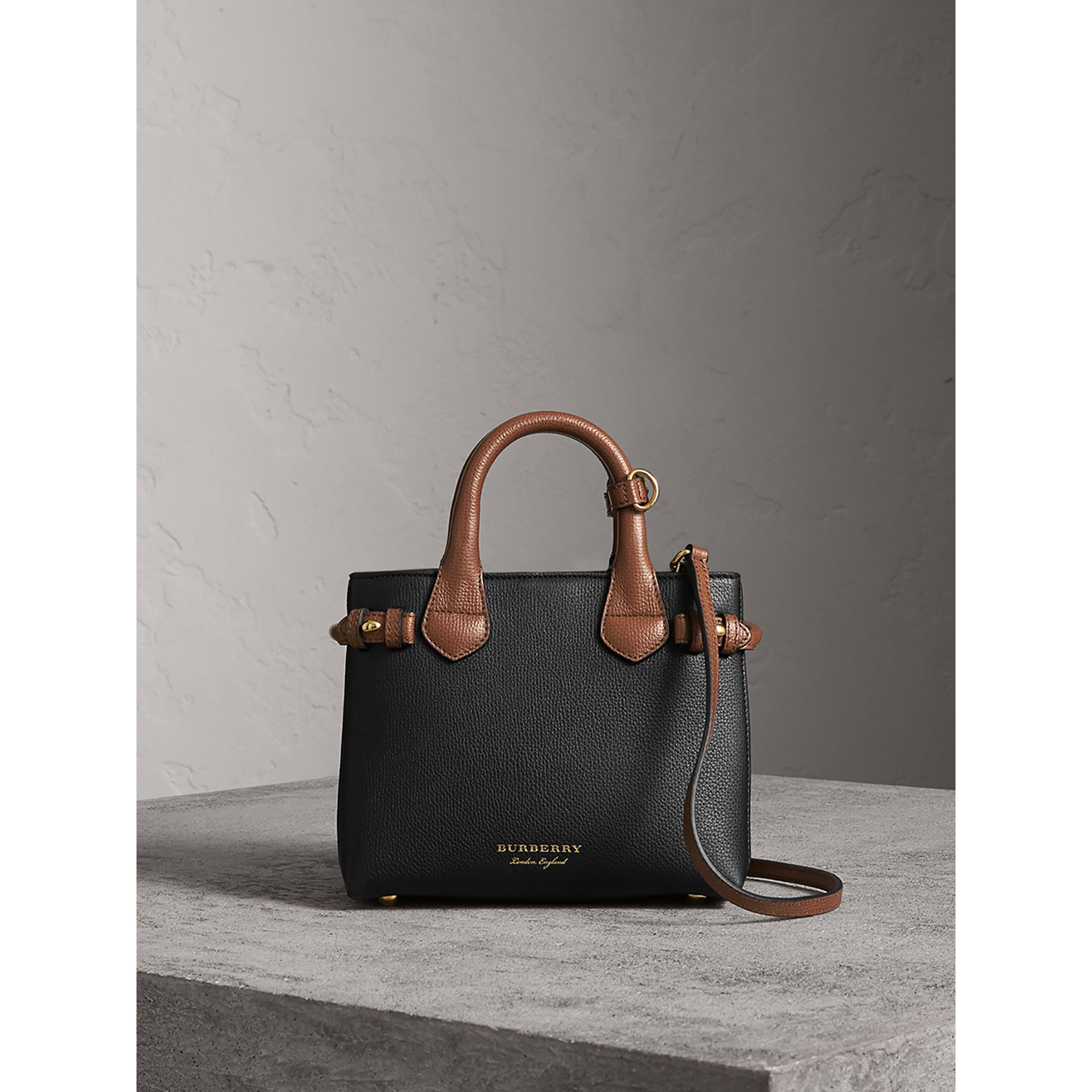 The Baby Banner in Leather and House Check in Black/tan - Women | Burberry United States - gallery image 8