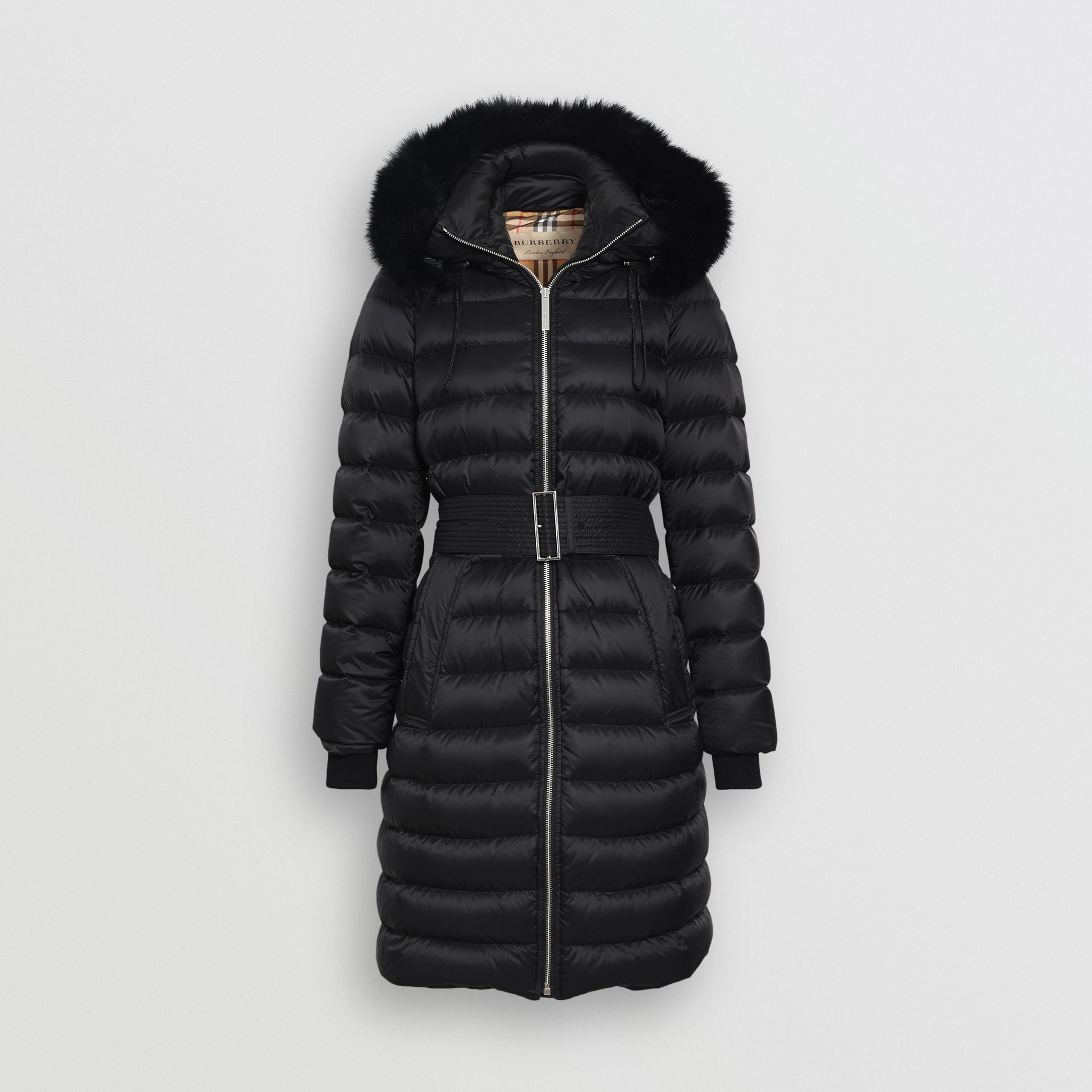 Detachable Shearling Trim Down-filled Puffer Coat in Black - Women | Burberry - gallery image 3