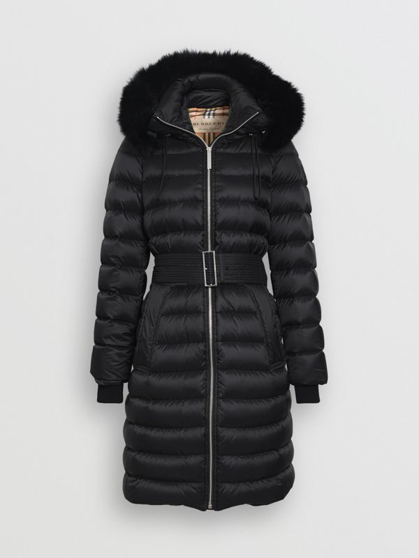 Detachable Shearling Trim Down-filled Puffer Coat in Black - Women | Burberry - cell image 3