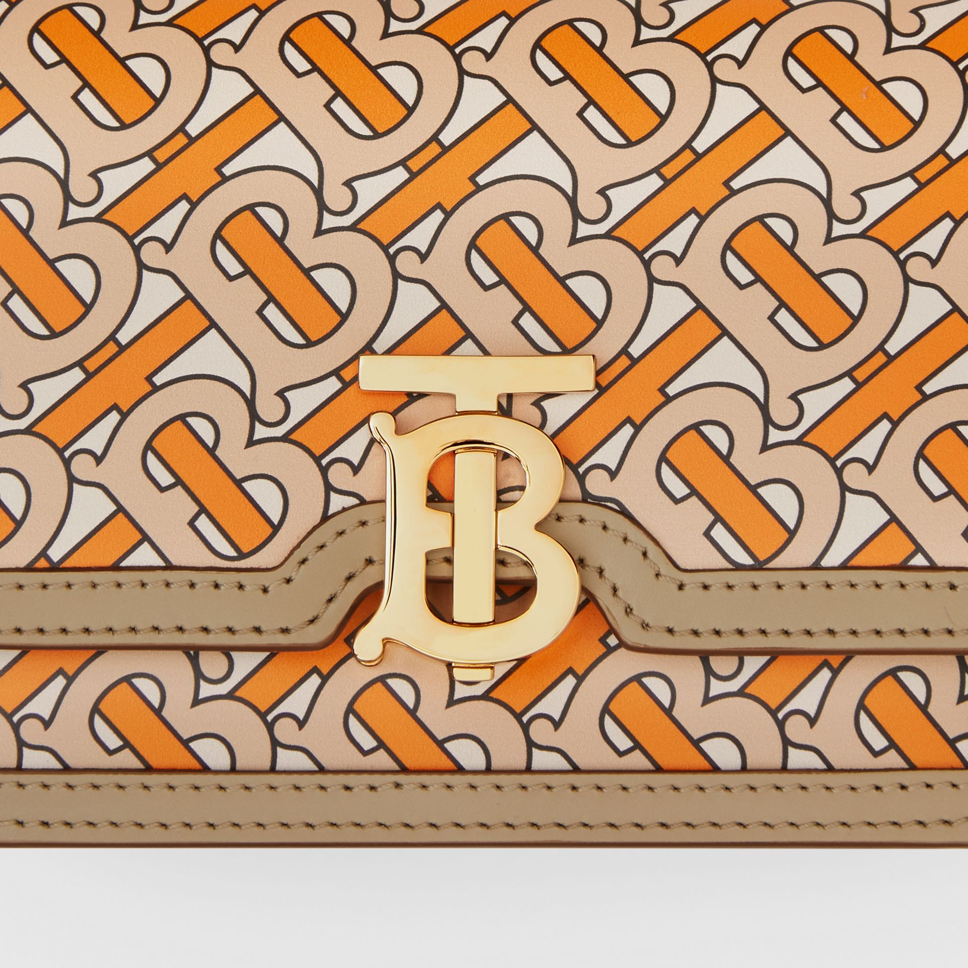Belted Monogram Print Leather TB Bag in Bright Orange - Women | Burberry Australia - gallery image 1