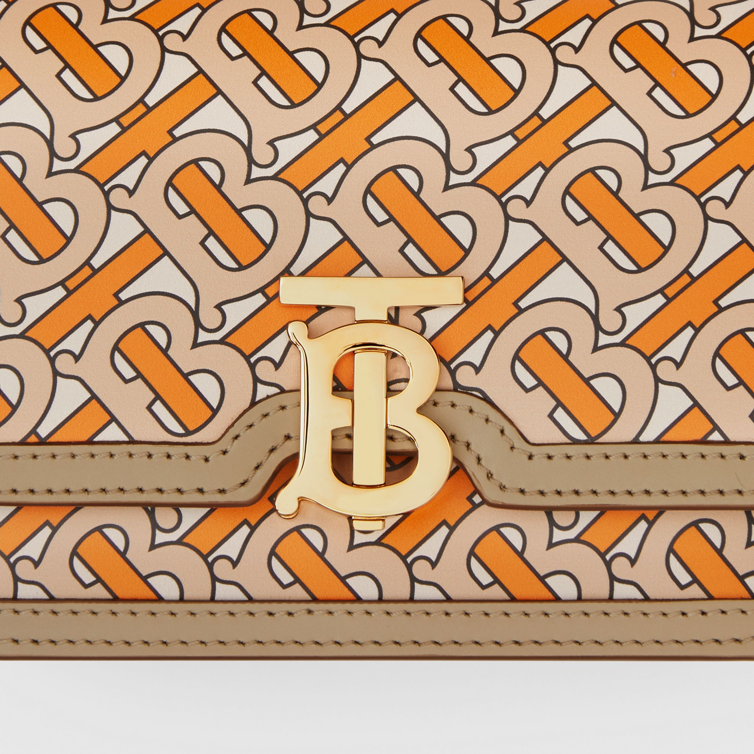 Belted Monogram Print Leather TB Bag in Bright Orange - Women | Burberry - 2