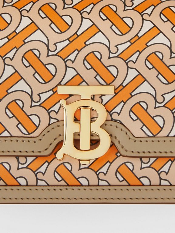Belted Monogram Print Leather TB Bag in Bright Orange - Women | Burberry United Kingdom - cell image 1
