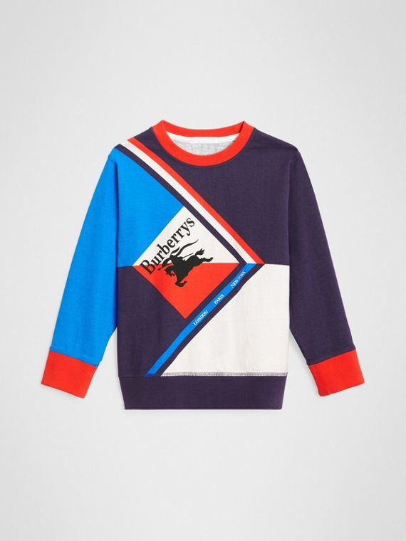 Long-sleeve Archive Logo Print Cotton Top in Multicolour