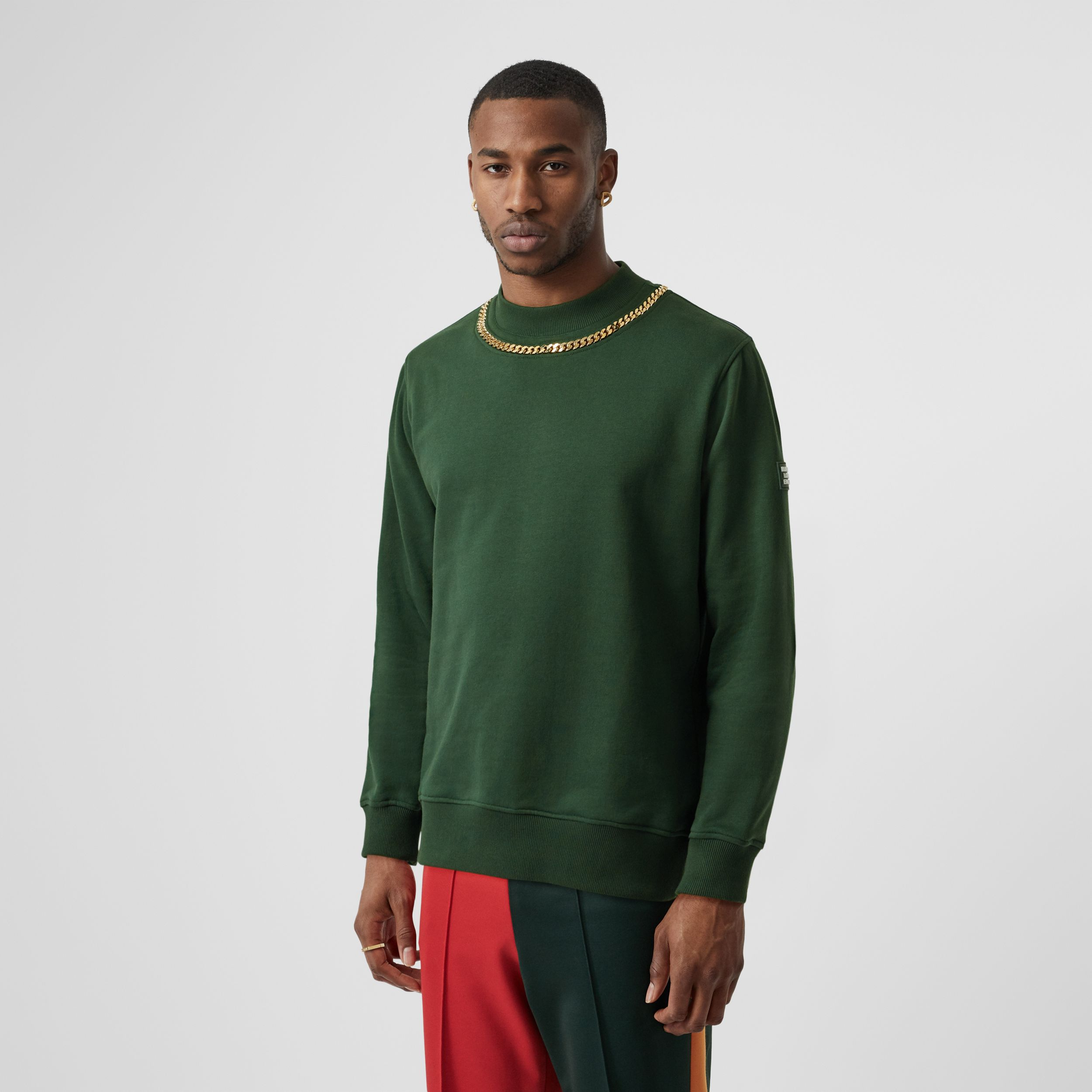 Chain Detail Cotton Sweatshirt in Dark Pine Green - Men | Burberry - 1