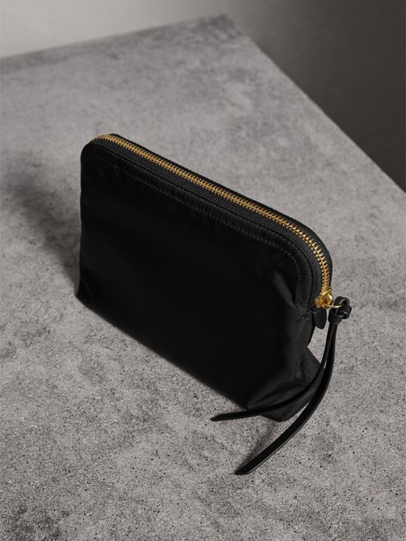 Large Zip-top Technical Nylon Pouch in Black - Women | Burberry Australia - cell image 3