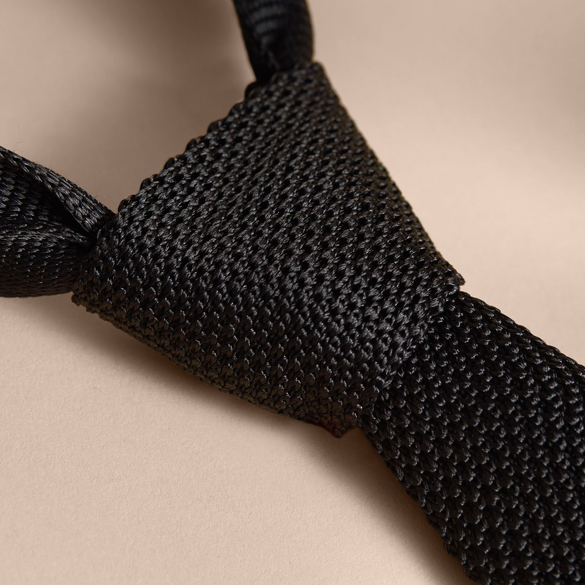 Slim Cut Knitted Silk Tie in Black - gallery image 2