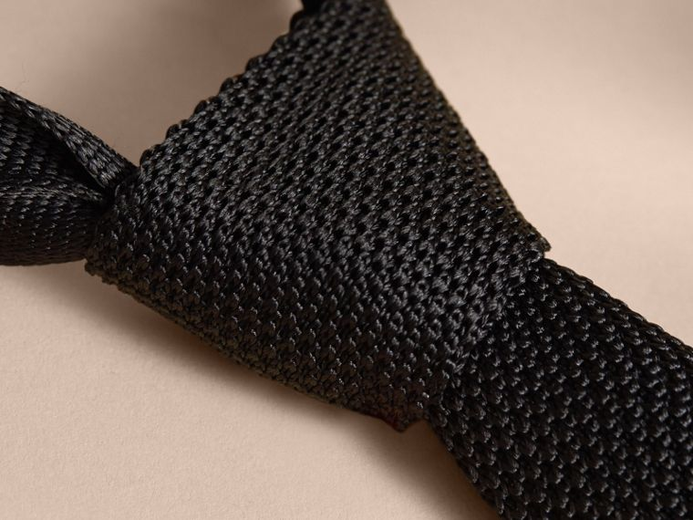 Slim Cut Knitted Silk Tie in Black - Men | Burberry Canada - cell image 1