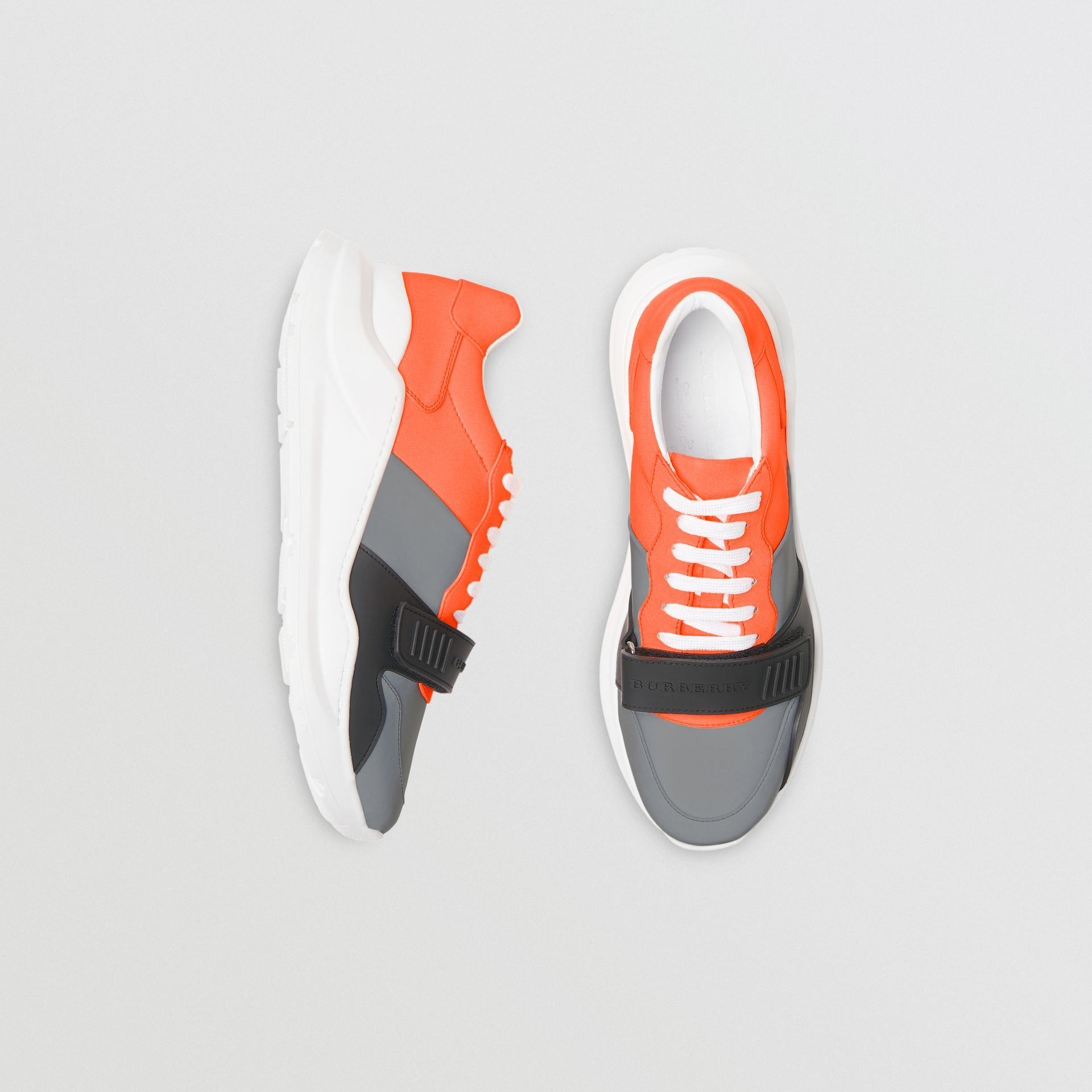 Colour Block Sneakers in Silver Grey/orange - Men | Burberry - gallery image 0