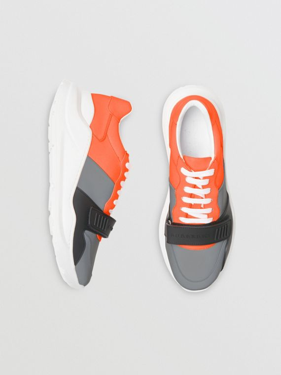 Colour Block Sneakers in Silver Grey/orange