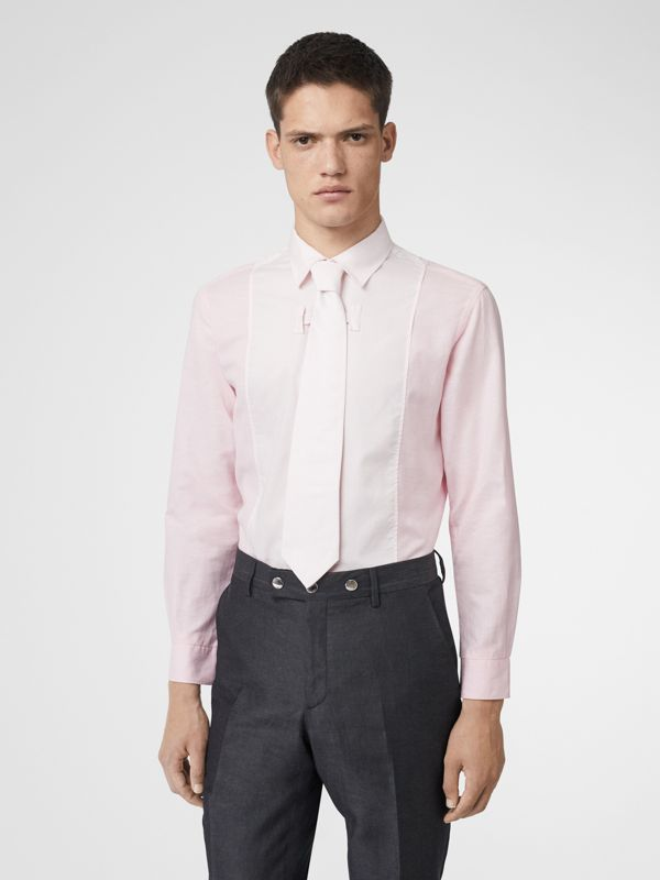 Cotton Linen Shirt and Tie Twinset in Alabaster Pink | Burberry - cell image 3