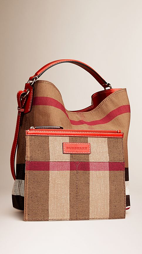 Cadmium red The Medium Ashby in Canvas Check and Leather - Image 3