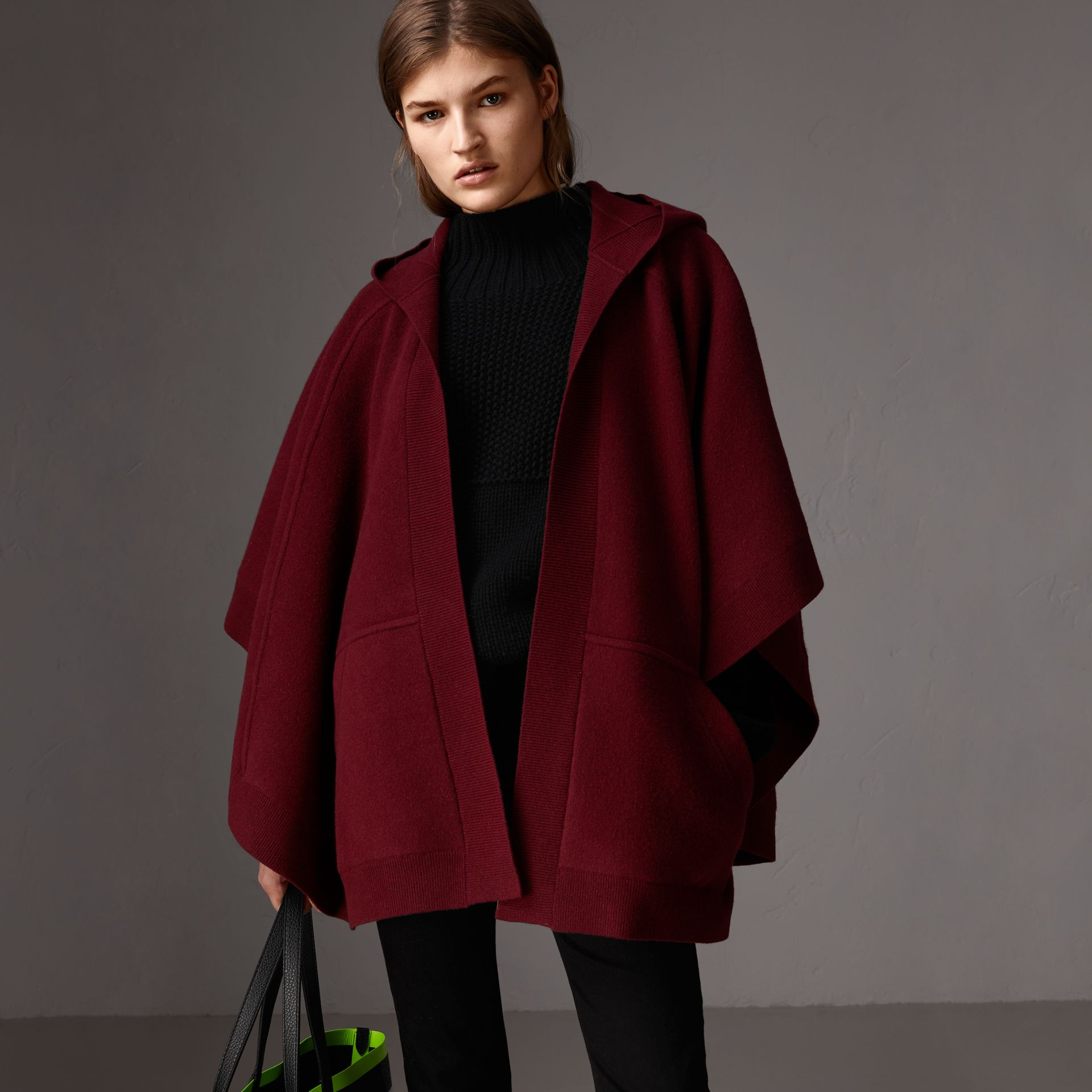 Wool Cashmere Blend Hooded Poncho in Deep Red - Women | Burberry - gallery image 0