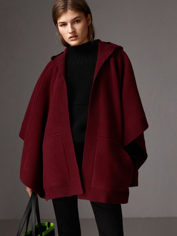 Wool Cashmere Blend Hooded Poncho in Deep Red