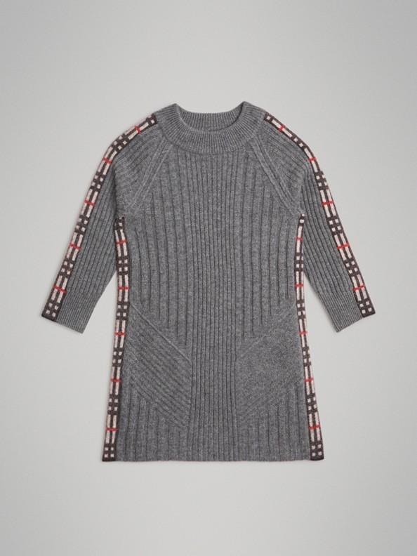 格紋細節設計羊毛喀什米爾洋裝 (中混合灰)