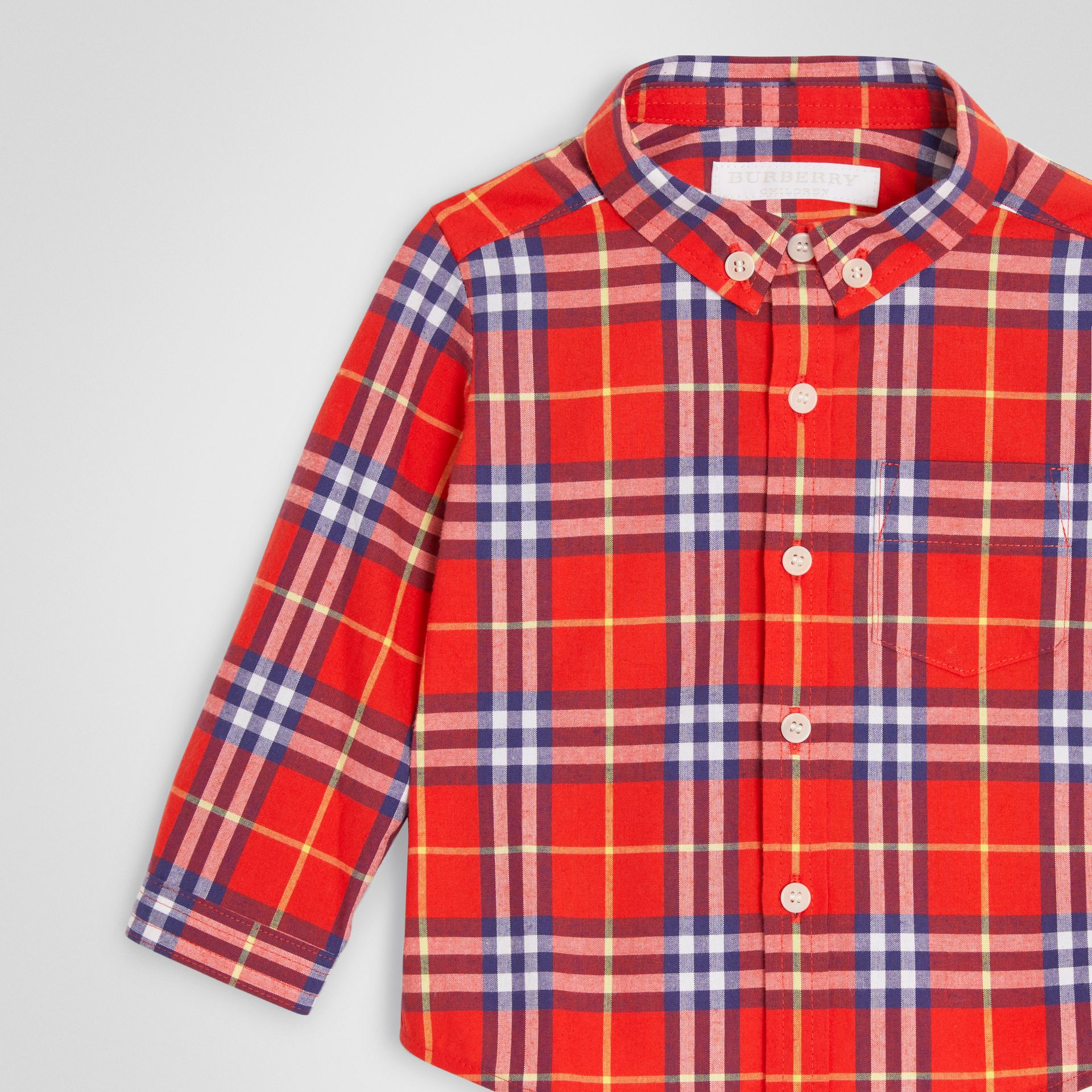 Button-down Collar Check Cotton Shirt in Orange Red - Children | Burberry - gallery image 4