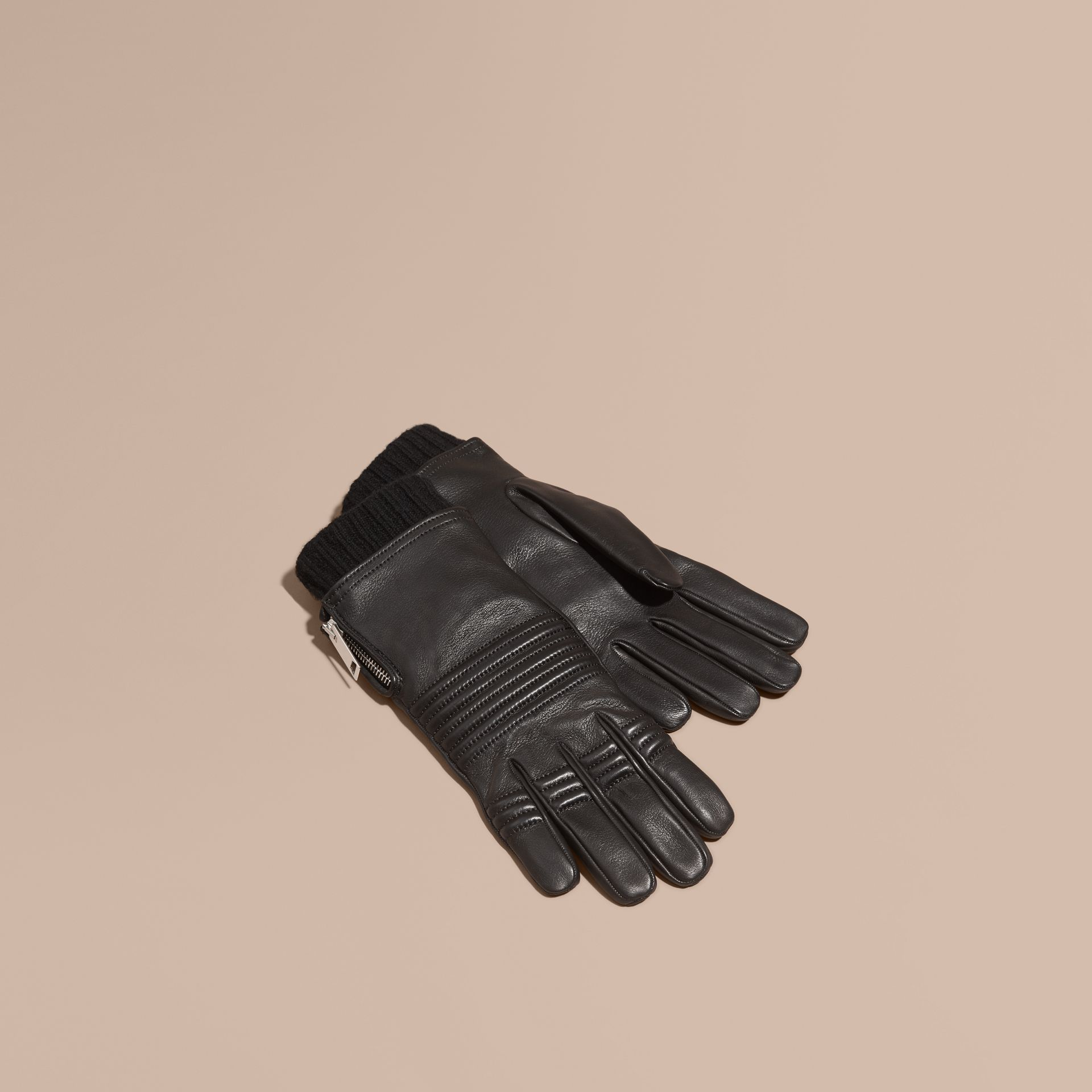 Black Biker Style Leather Gloves - gallery image 1