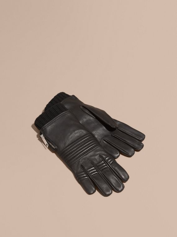 Biker Style Leather Gloves - Men | Burberry Australia