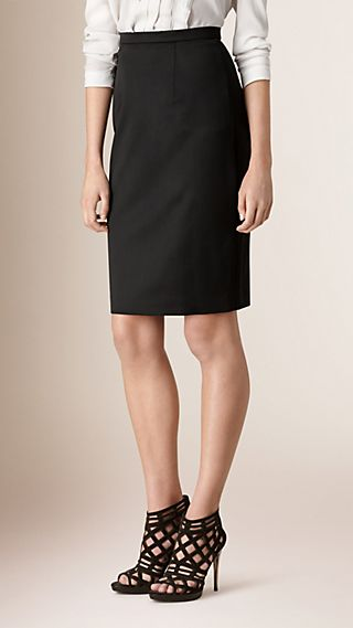 Stretch Virgin Wool Tailored Pencil Skirt Black