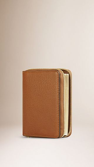 Ziparound Grainy Leather Mini Notebook