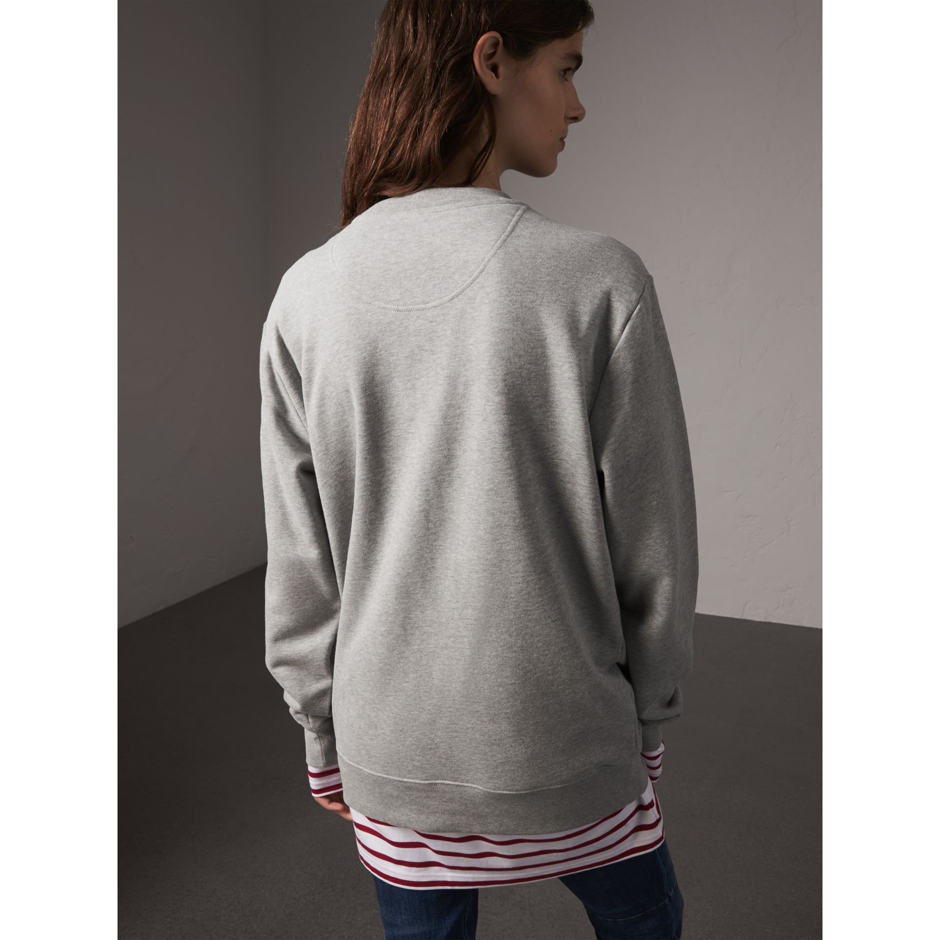 Unisex Beasts Leather Appliqué Cotton Sweatshirt in Pale Grey Melange - Women | Burberry - gallery image 5