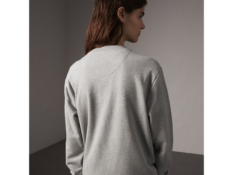 Unisex Beasts Leather Appliqué Cotton Sweatshirt in Pale Grey Melange - Women | Burberry Canada - cell image 4