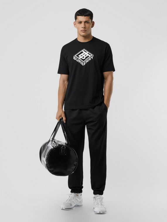 Logo Graphic Cotton T-shirt in Black
