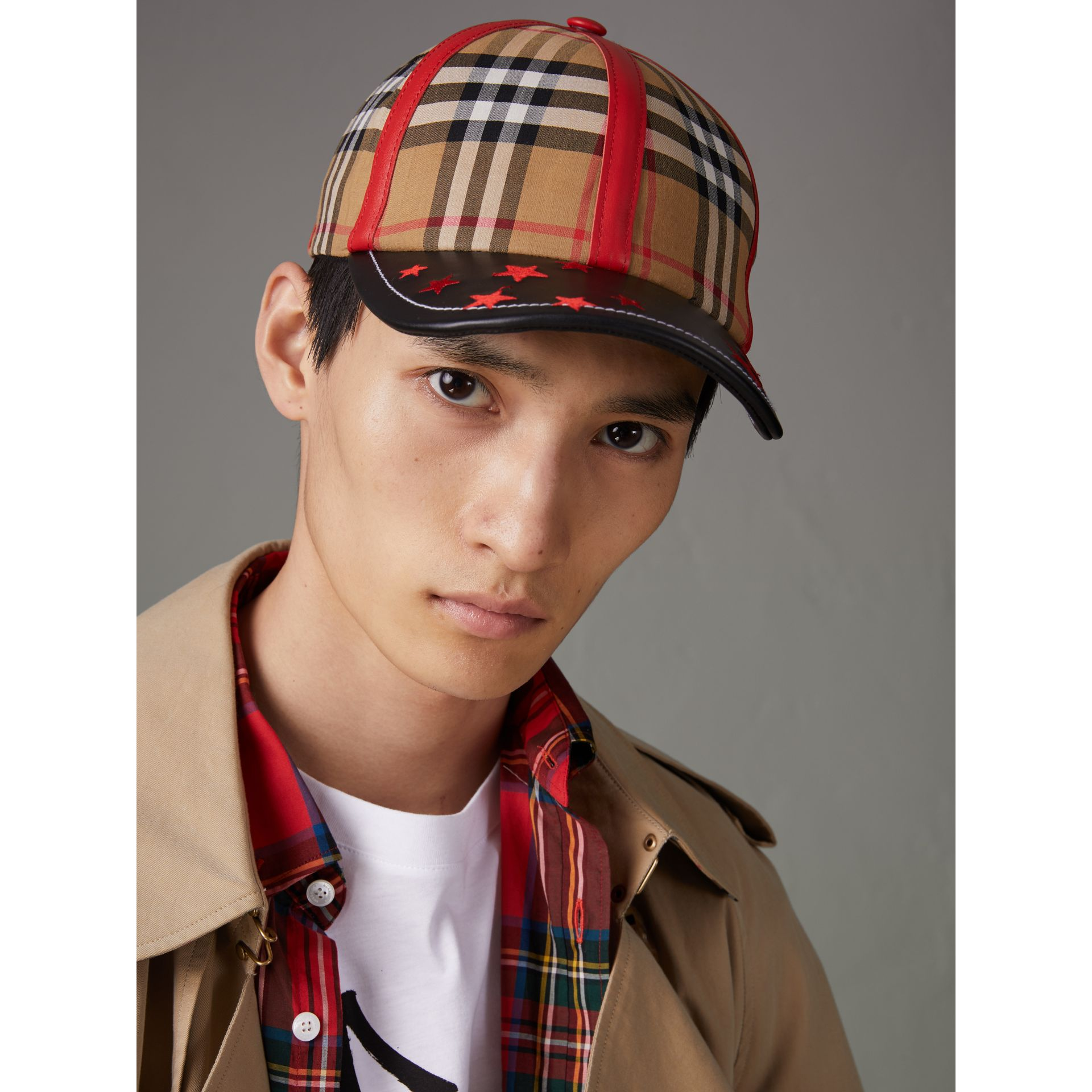 Burberry x Kris Wu Vintage Check and Leather Baseball Cap in Antique Yellow/black - Men | Burberry Canada - gallery image 2