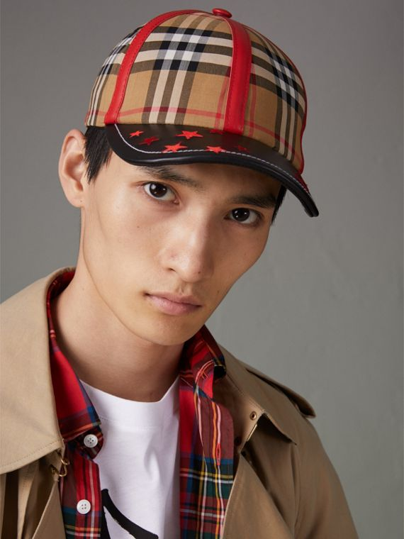 Burberry x Kris Wu Vintage Check and Leather Baseball Cap in Antique Yellow/black - Men | Burberry United Kingdom - cell image 2